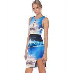 White Suede - Blue Azur Scuba Dress - Bodycon Dresses (Blue Azur)