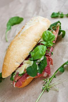 Parma Ham Sandwich (via Shutterstock) Sandwich Platter, Panini Sandwiches, Wrap Sandwiches, Sandwich Recipes, Sandwich Ideas, Delicious Sandwiches, Great Recipes, Favorite Recipes, Healthy Recipes