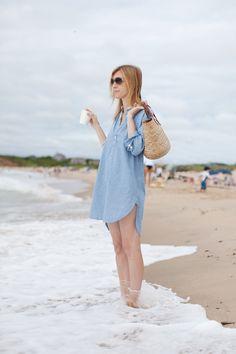 raybans, check.  straw bag, check. shirt dress, check. iced coffee, check.  beach happy...