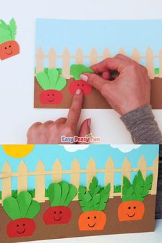 Want to have your own veggie garden growing any time of the year? Let the kids make this paper garden craft. Garden Crafts For Kids, Bible Crafts For Kids, Creative Activities For Kids, Animal Crafts For Kids, Paper Crafts For Kids, Toddler Crafts, Kids Arts And Crafts, Fun Crafts, Art For Kids