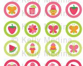 Butterfly Baby Shower - 1 inch Circle Digital Sheet - Commercial use for Cupcake Toppers, Magnets, Paper Crafts and Products. $2.99, via Etsy.