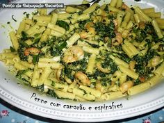 Penne with shrimp and spinach
