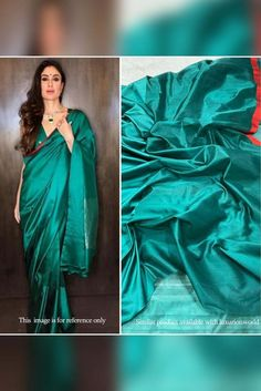 Green Handloom Chanderi Kat... Celebrity Look, Look Alike, Green Fabric, Occasion Wear, How To Look Classy, Exclusive Collection, Office Wear, Cotton Silk, Silk Sarees