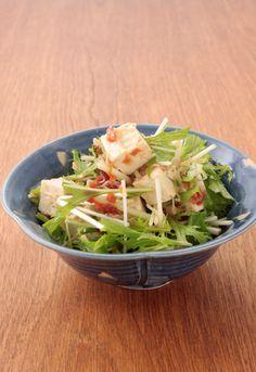 水菜と豆腐の梅じゃこサラダ