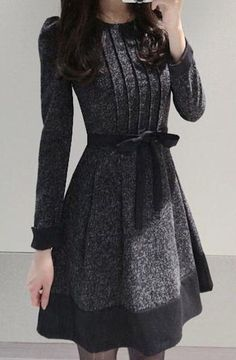 Elegant Jewel Neck Long Sleeve Color Block Worsted Dress For Women