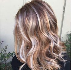 Bayalage blonde caramel brown hair color highlights lowlights chestnut