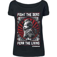 The Walking Dead - Daryl Dixon - Fight  - Front bedruckt - U-Boot Ausschnitt  Wenn du die Apokalypse überleben willst, solltest du es Daryl Dixon gleichtun! Ganz nach dem Motto 'Bekämpfe die Toten und fürchte die Lebenden' kämpft er sich durch die Serie The Walking Dead. Das passende Girl-Shirt mit U-Boot-Ausschnitt gibt's mit dem Shirt Daryl Dixon - Fight von The Walking Dead.
