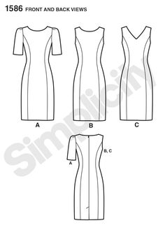 Simplicity S1586 Amazing Fit Dress Misses' + Plus Sizes has separate pattern pieces for Slim, Avg. Curvy Fit, & Separate Cup Sizing. Semi-fitted, unlined sheath dress has princess seams (front & back) that can be color blocked. Short or sleeveless, V-neck or Jewel. Back skirt vent, w/ center back zip close. Pique, Poplin, Sateen, Lt. Wt. Wool + blends, Crepes, Silk Linen, Sueded Silks/Rayons, Brocades, Satin, Shantung, Linen + blends. Extra needed for 1-way designs or stripes & plaid…