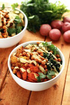 Roasted Potato & Veggie Power Bowl -... | Garden of Vegan