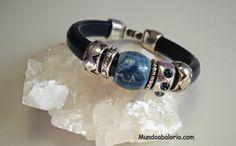 #pulsera cuero regaliz azul