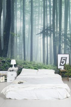 Get lost in the woods with this forest wallpaper mural. The misty air adds a sense of mystery to your interiors, bringing dreamlike feel that's perfect for bedroom spaces.