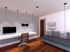 Maquete 3D, de quarto jovem com design da fiação aparente