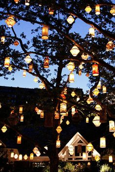 Outdoor DIY Christmas decor with multicolored lanterns and fairy lights - Weihnachts Dekor - Tree Lanterns, Paper Lanterns, Glass Lanterns, Garden Lanterns, Chinese Lanterns, Hanging Lanterns Wedding, Ideas Lanterns, Tangled Lanterns, Lantern Wedding