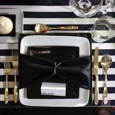 black and white striped for tablecloth, love this