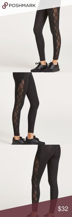 NWT Shein Black Mesh Criss Cross Leggings NWT Shein Black Mesh Criss Cross Leggings Shein Pants Leggings