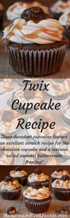 "Twix Cupcakes Recipe with a Twix candy baked in the middle. This decadent chocolate Twix cupcake recipe is made from scratch and also features a salted caramel buttercream frosting recipe that is ""To die for""! Best Dessert Recipes, Cupcake Recipes, Fun Desserts, Sweet Recipes, Delicious Desserts, Delicious Dishes, Yummy Snacks, Yummy Recipes, Healthy Recipes"