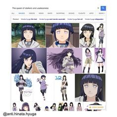 """i'm pretty sure the person who made this just typed """"Hinata"""" and press enter and after that he typed """"the queen of stalkers and uselessness"""" without pressing enter because when i typed """"the queen of stalkers and uselessness"""" hinata didn't came up  ,btw don't get the wrong idea,i love Hinata!"""