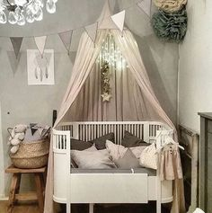 Sparkles and frills for a little girl's room decorated in soothing grey Baby Decor, Kids Decor, Little Girl Rooms, Nursery Inspiration, Nursery Room, Girls Bedroom, Kids Room, Toddler Bed, Sweet Home