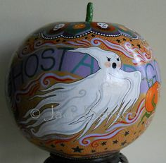 GHOST and GOBLINS on HALLOWEEN-one-of-a-kind ooak hand-painted pumpkin shaped dried gourd on Etsy, $160.00