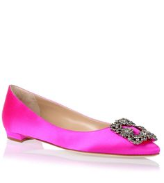 Pink satin flat with a grey crystal embellished ornament from Manolo Blahnik. The Hangisi flat has a slightly pointed toe, a small covered heel measuring 10 mm and cream leather lining.True to sizeLeather soleMade in ItalyDesigner colour: Hot Pink 610