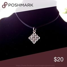 Unisex Celtic Silver Necklace This silver Celtic square pendant hangs on a black satin cord and is completed with a silver clasp. It measures 1 inch in circumference.   SHIPPING: 3/26 to 3/29 = 24 hours Kauai Post Offices close for Easter Weekend. 3/30 to 4/01 = 4/02 Jewelry Necklaces