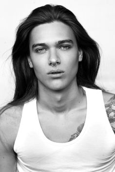 Ben Cimmerbeck male model hot guys with long hair pierced septum ring men Pretty People, Beautiful People, Foto Glamour, Native American Men, Boy Models, Male Beauty, Gorgeous Men, Hot Guys, Hair Cuts