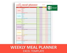 meal planner template nz - Google Search