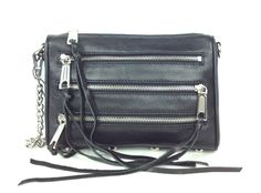 Rebecca Minkoff Mini 5 Zip Rocker Leather Crossbody Bag, Black