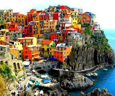 Beautiful Cinque Terre town of Manarola on the coast of Italy,