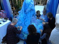 Working on the Cinderella dress
