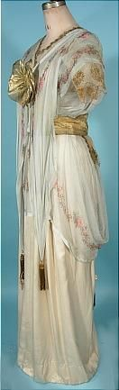 """c. 1912 """"Titanic"""" Edwardian Gown of Ivory Silk, Gold Lame and Floral Chiffon! This gown came to me from the estate of a woman named Margarite who was the owner's Grandmother's cousin. Sideways"""