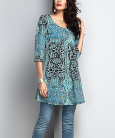 Love this Aqua Paisley Empire-Waist Tunic on #zulily! #zulilyfinds