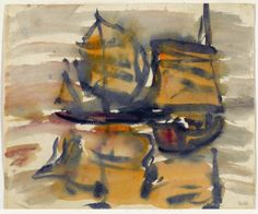 Emil Nolde (German, 1867-1956), Chinesische Dschunken [Chinese junks], 1911.
