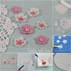 How to make simple sugar blossoms flowers from fondant