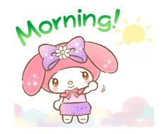 LINE Official Stickers - My Melody: Absolutely Adorable Example with GIF Animation Hello Kitty Art, Hello Kitty My Melody, Keroppi Wallpaper, Hello Quotes, My Melody Wallpaper, Cute Love Gif, Kitty Images, Good Morning Gif, Cartoon Stickers