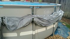 Pool cover side hangers. Bought hook brackets at Loews, attached with durable zip ties. 5 hangers to hold 16ft round pool cover. Took us 10 minutes to install, and works great! T. Dossey