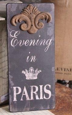 SHABBY FRENCH CHIC Evening In Paris WALL DECOR Art Sign Fleur De Lis Accent NEW