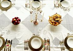 Easter Lunch Table Set-Up Silverware - cutlery, candleholder, serving dishes, charger plates Crystal - glasses