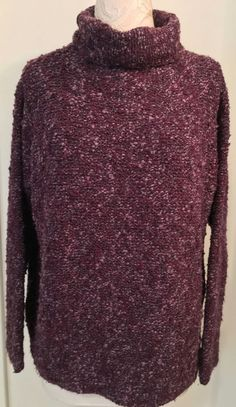 EILEEN FISHER Size medium Purple Boxy  Turtleneck Sweater #EileenFisher…
