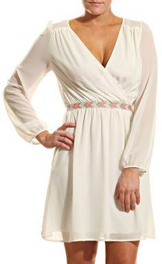 White Long Sleeve Dress with a Boho Belt