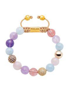 CZ Diamond With Aquamarine, Cherry Quartz, Rose Quartz, & Amethyst Lav | Nialaya Jewelry