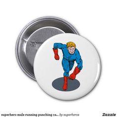 superhero male running punching cartoon button
