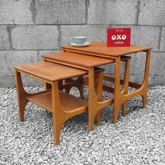 Modernist Trio Coffee Tables Nest Kitsch by MagpiesVintageShop