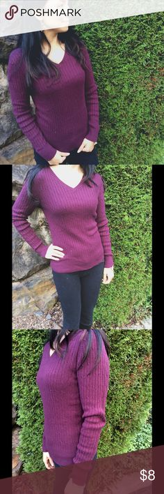 Plum Purple Sweater I love these! I actually have, like, 5 colors in this sweater! It's so adorable and so easy to dress up or down with. Put a plaid or plain white collared shirt under it to dress it up. Add some pearls or just a cute scarf. No flaws! Sweaters