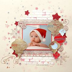 "#Papercraft #scrapbook #layout. Christmas Joy {Sparkle N Sprinkle} ~ so CUTE using the ""stars"" stencil."