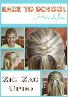 Getting ready for Back to School with Back to School Hairstyles for girls! Fast and easy hairstyles you can do in very little time. I love this Zig Zag Updo! Super easy and soooo cute!