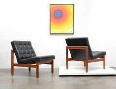 Danish Modern FRANCE  SON Teak Leather Lounge Chairs Mid Century Hvidt Vintage