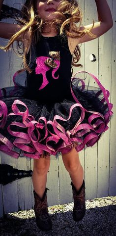 Over the top Birthday Barbie glitter and leopard tutu set in Black and hot Pink