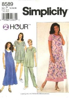 Simplicity Sewing Pattern 8589 Misses Size 6-10 Maternity Wardrobe Dress Jumper Top Pants Shorts