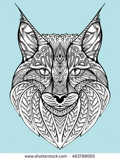 Abstract portrait of a wild cat. Lynx. Predatory cat. Line art. Drawing by hand…